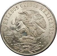 1968 Mexico XIX Olympic Games Aztec Ball Player BIG 25 Pesos Silver Coin i53630