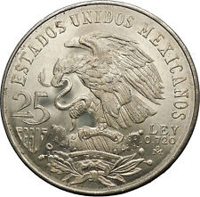 1968 Mexico XIX Olympic Games Aztec Ball Player BIG 25 Pesos Silver Coin i53630