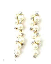 Oro Bianco Avorio Perla Orecchini Finti Diamanti Pendente Nuziale Vintage