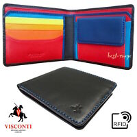 Colourful Leather Wallet Bifold RFID Tap & Go Pocket New Quality Visconti SP61