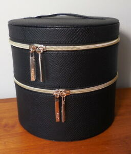 Lancome 2-Layers Round Black Train Case Cosmetic Makeup Organizer Travel Bag LOT