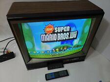 "Vtg Magnavox 19"" Color CRT Curved Tube TV Retro 1989 80s Woodgrain REMOTE Gaming"