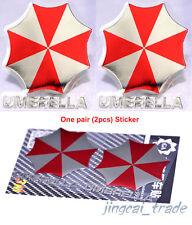 Pair (2 pcs) Polished Chrome Umbrella Corporation Car Sticker Decal Red & Silver