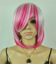 New Pink Mix White Short Straight Women's Lady's Cosplay Hair Wig Wigs + Wig Cap