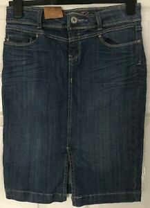 New with Tags NEW LOOK Size 8 BLUE DENIM knee length SKIRT