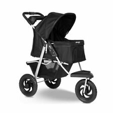 Paws & Pals Deluxe 3-Wheel Foldable Pet Stroller - Black (PTST-05-BK)