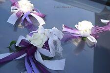 Autoschmuck, Autogirlande lila, flieder,ceme, Hochzeit, neu, zum Brautkleid