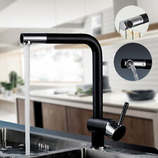 Schwarz Wasserhahn Küchenarmatur Einhebel Spültischarmatur mit 360° Brause DHL