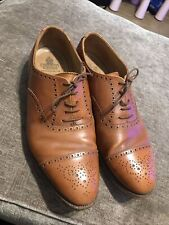Crockett and Jones Plymouth LIght Brown  Leather Shoes Captoe Brogues Size 9 F