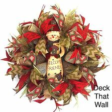 Country Christmas Mesh Wreath With Snowman, Deck That Wall