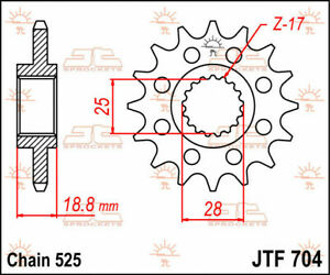 Jtf704.17 front replacement sprocket 17 teeth 525 pitch natural steel - APRIL...