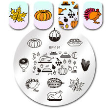 Round Nail Art Stamping Image Plates Thanksgiving Turkey Pumpkin DIY BORN PRETTY