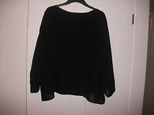Handmade Black Chiffon Lined Off Shoulder Oversized Top O/S