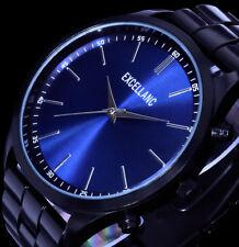 Excellanc Herren Armband Uhr Schwarz Blau Metall BS-2