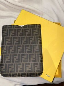NEW FENDI FF Zucca Leather Apple iPad Kindle Tablet eBook Cover Case Pouch