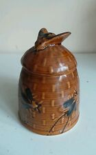 Vintage Old Beehive Honey Pot Jar Container W Bee Finial FREE Honey Dipper