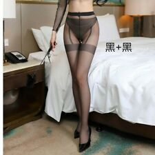 T002060 Black Faux Stockings With Red Seam and Bows