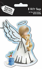 Angel & Bear Christmas Gift Tags Pack Of 8 Tags With String