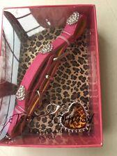 Betsey Johnson Small Dog Collar Pink Bling Leopard Heart XS/SM NIB