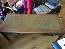Antique Coffee Table Wood And Embossed Leather Vintage