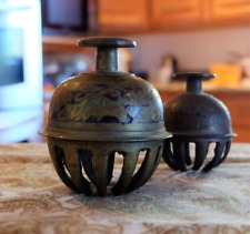 Elephant claw brass bells etched painted brass bells India collectible set of 2