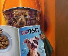 FUNNY POODLE JOKE POSTER 30x25 INCH reading Fancy Dog Magazine at beauty salon