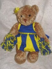 "Gund cheerleading Poms Breanna Je m'appelle yellow & blue outfit 13"" brown bear"