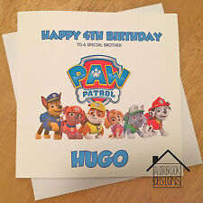 Personalised Paw Patrol card,1st 2nd 3rd 4th birthday. Any Age/Name.Son/Grandson