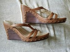 UGG boots wedge sandals, size 8W, Lourdes, Brown, Leather, studded