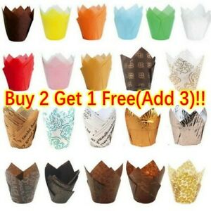 Cupcake Wrapper Baking Liners Muffin Cup Tulip Case Cake Paper Decor Kitchen UK