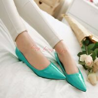 Ladies Patent Leather Candy Colors Low Heels Pointy Toe Shoes Womens Pumps Shoes