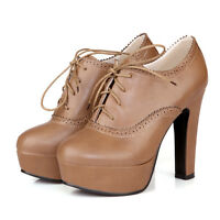 Slim Lace Up High Heel Wing Tip Platform Womens Ankle Boots Shoes ALL New