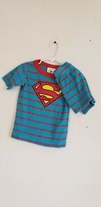 Hanna Andersson Boys Blue Stripe Superman Short Johns Pajamas Size 100cm 4