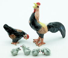 Figurine Animal Ceramic Statue Rooster Hen Fighting Cock family - CFC030