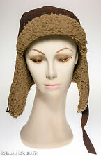 Aviator Cap With Lining Brown Faux Suede Military Look Steampunk Costume Hat