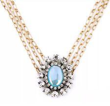 ART DECO CHUNKY TEAL BLUE GREEN Crystal Rhinestone Choker Bib Statement Necklace