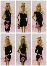 6 x Handmade Vintage Little Black Dress Outfit For Barbie Doll best collection