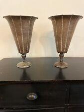 """Pair Rustic Metal Vase Urn Accent Décor Farmhouse Decor 14.5"""" X 10"""""""