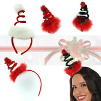Ladies Deluxe Xmas Tree Spiral Spring Santa Christmas Hat Headband Fancy Dress
