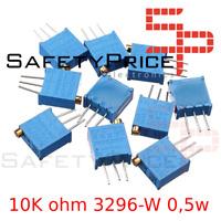 5x Potenciometro Multivuelta 10K ohm 3296-W 0,5w resistencia variable PCB Trimpo