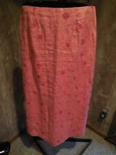 B6 MISSES CORAL 100% LINEN BEADED EMBELLISHED LONG MAXI SKIRT ANN TAYLOR 6