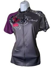 Women's Primal Cycling Jersey Sz XL Hummingbird Bike Athletic Top Gray / Purple