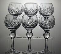 """BRIDGE CRYSTAL""""BGD3"""" CUT WINE HOCK GLASSES SET OF 6 - 6 3/4"""" TALL"""