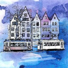 Art Watercolour Sketch Postcard showing Old Tram Q39