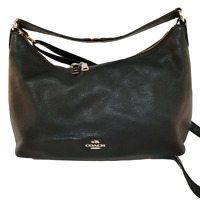 Coach F36628 Black Pebbled Leather Shoulder Bag Crossbody Bag Handbag Purse Vtg