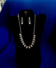 Rhinestone Necklace and Earring Set with Pearls