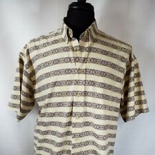 Tribute Mens Shirt Size Large Button Casual Dress Cotton Tan Brown