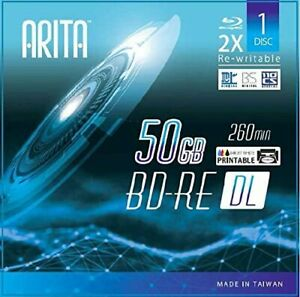 10-Pak Arita 50GB WHITE INKJET HUB PRINTABLE 2X BLU-RAY DL BD-RE in Jewel Cases