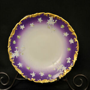 """Limoges T&V Cabinet 8 1/8"""" Plate 1907 Hand Painted Purple White Violets w/Gold"""