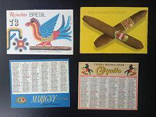 Lot de 4 Anciens minis calendriers de poche tabacs Cigares Cigarettes